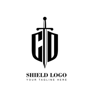 Initial Letter CD Shield shape and sword logo template