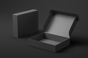 Realistic open cardboard box. Closed black gift box in the background. Mock up. 3d rendering