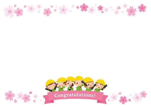 卒園する可愛いキッズの仲良しグループ【桜フレーム】
