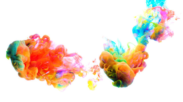Color paint drops in water , abstract color mix , drop of Ink color mix paint falling on water Colorful ink in water,