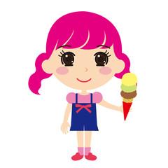 アイスクリームを持った女の子