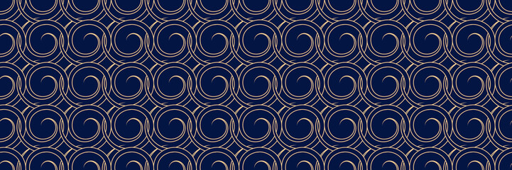 Long seamless background. Dark blue backdrop with abstract golden pattern Wall mural