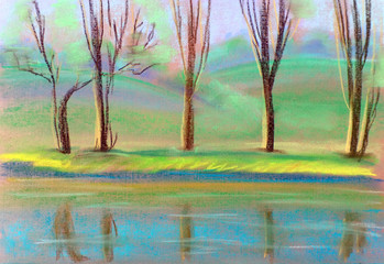spring gentle pastel landscape with reflections in the water