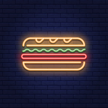 Neon Sandwich Food Icon Logo