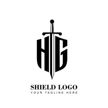 Initial Letter HG Shield shape and sword logo template