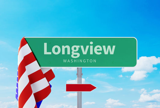 Longview – Washington. Road or Town Sign. Flag of the united states. Blue Sky. Red arrow shows the direction in the city. 3d rendering