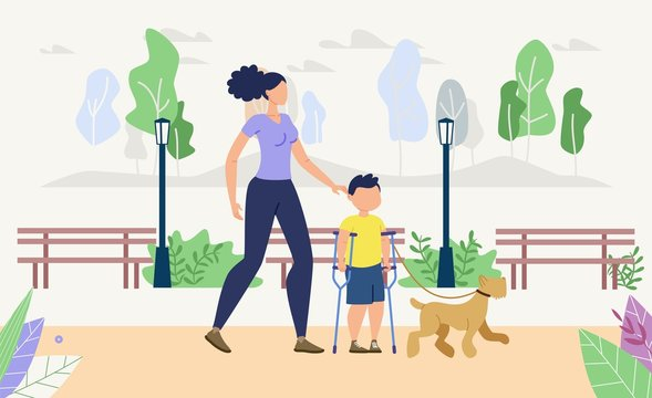 Injured Children Physical, Psychological Rehabilitation, Recreation Trendy Flat Vector Concept. Disabled Boy Resting in Park with Mother and Dog, Learning to Walk on Crutches After Trauma Illustration