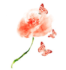 Watercolor flower with butterfly , isolated on white background