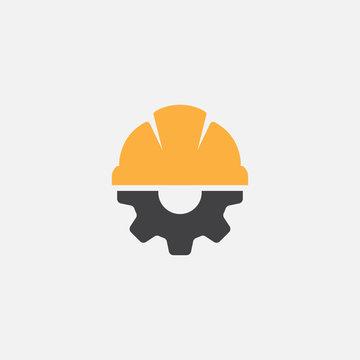 Helmet Construction with Gear Vector icon Design, helm logo gear vector