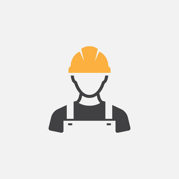 Construction Worker Icon vector Person Profile Avatar With Hard helmet and Jacket, builder man in a helmet, icon, vector illustration