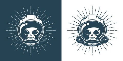Alien in space helmet - vintage logo. Martian face in a spacesuit - hipster retro emblem. Vector illustration.