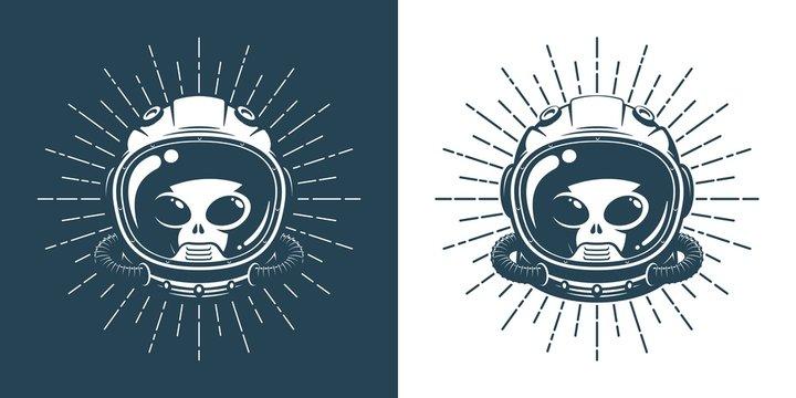 Alien in space helmet - vintage logo. Martian face in a spacesuit - hipster retro emblem. Vector illustration.