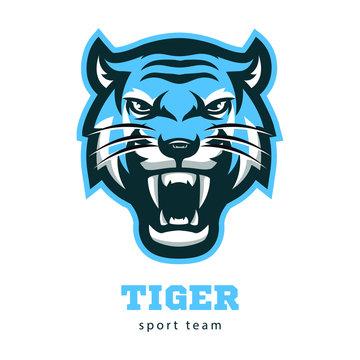 Vector angry tiger head vector illustration logo