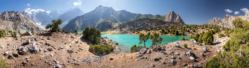 Fotobehang Noord Europa Mountain landscape of wild lake. Hiking paths. Summer day in mountains