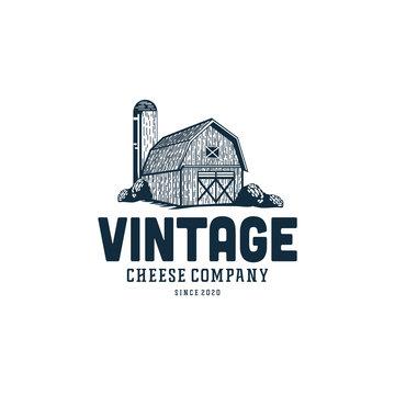 Vintage barn logo design illustration for ranch