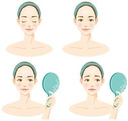 女性の顔のイメージイラストセット(美容)