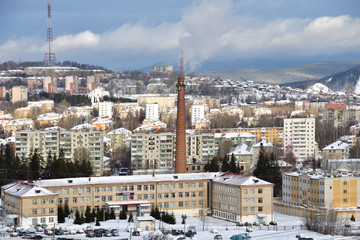 The city of Zlatoust in the winter, Chelyabinsk region, Russia