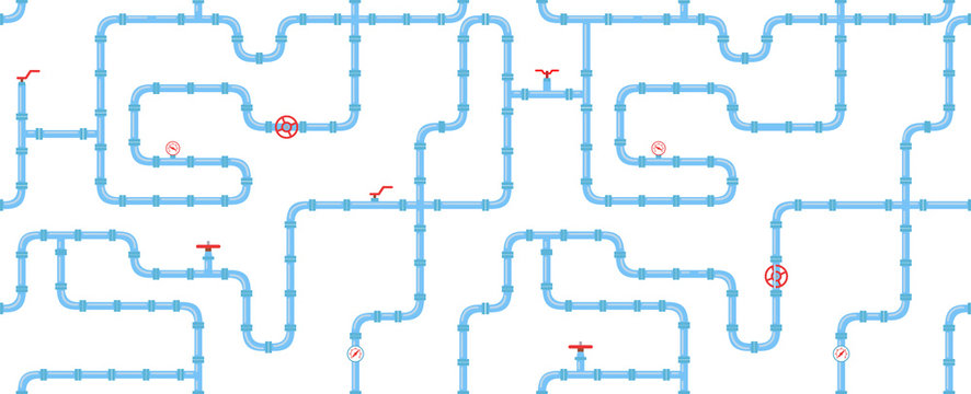 Horizontal industrial seamless pattern. Blue piping on a white background. pipes for water, gas, oil. Vector illustration in a flat style.