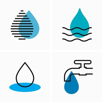 Drop of water and leaking tap, water waste, flat and outline icon