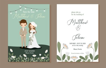cute bride and groom with wedding invitation card template set