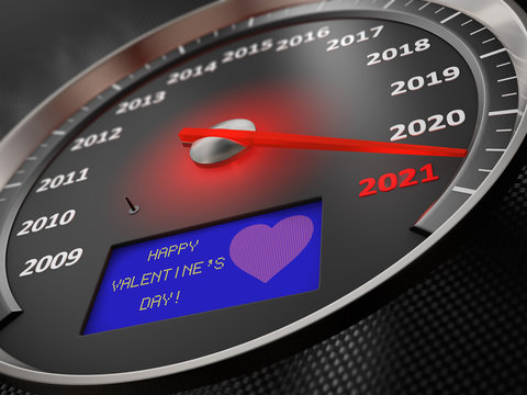 The speedometer shows 2021 and the inscription on the screen: Happy Valentine's Day. 3D render