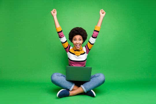 Full length photo of crazy funky afro american girl work laptop sit legs crossed win coworking deal scream wow omg raise fists wear denim jeans shine outfit isolated green color background
