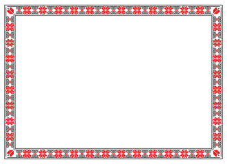 Frame with bulgarian flower motifs pattern. Frame in A4 format proportions with embroidery ornaments. Traditional bulgarian and slavic symbols. Pixel art, pixel pattern.