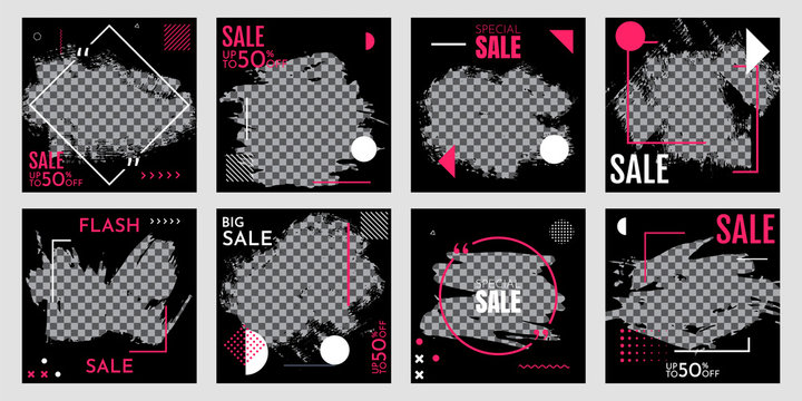 Grunge vector overlay. Banner design. Fashion sale promotion and digital marketing. Hand drawn abstract frame with Memphis pattern elements. Ink brush strokes mess. Black poster with pink frame
