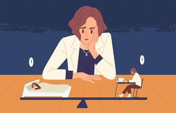 Tired business woman choice between health and side job vector illustration. Female cartoon office worker looking on tiny people choosing life and work. Balance between income and rest concept