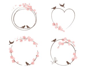 Frames for Wedding invitation. Set vector design elements on the theme of flowering and spring
