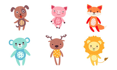 Wall Mural - Cute Toy Animals Collection, Dog, Pig, Fox, Bear, Deer, Lion Vector Illustration