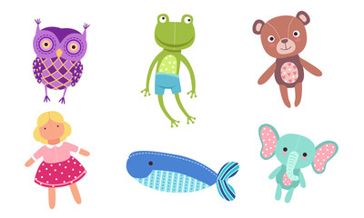 Wall Mural - Cute Toy Animals Collection, Owl, Frog, Bear, Doll, Whale, Elephant Vector Illustration
