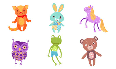 Fototapete - Cute Toy Animals Collection, Owl, Frog, Bear, Cat, Bunny, Horse Vector Illustration