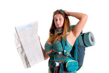 Lost girl with backpack and map