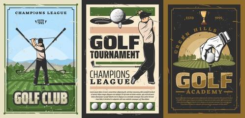 Vector golf course, golfer in uniform doing swing on fileld, club-and-ball sport. Golf sport club and academy, retro poster. Player on course, crossed sticks, hand in glove put ball on grass