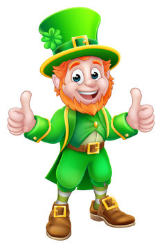A Leprechaun St Patricks Day cartoon character mascot giving a thumbs up