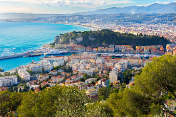 Foto op Canvas Nice scenery panoramic aerial cityscape view of Nice, France. Landscape of harbor, port in Nice. Cote d'Azur France. Luxury resort of French riviera