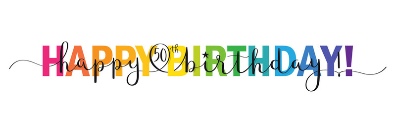 Rainbow-colored vector brush calligraphy HAPPY 50th BIRTHDAY! banner with swashes