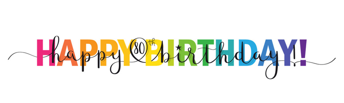 Rainbow-colored vector brush calligraphy HAPPY 80th BIRTHDAY! banner with swashes