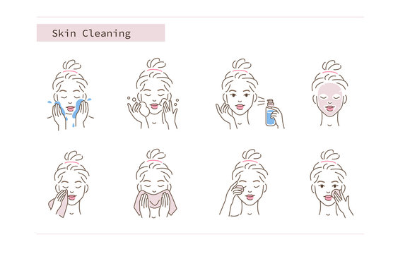 Beauty Girl Take Care of her Face and Use Cleansing Products for Skin. Skincare Procedures. Facial Cleaning, Mask, Moisturizing and Make Up Removing Concept. Flat Vector Illustration and Icons set.