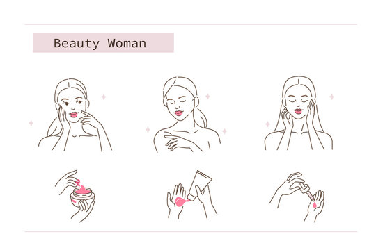 Beauty Girl Take Care of her Face and Body. Woman Applying Facial Serum Oil, Body Cream, Hand Cream. Skin Care Routine, Hygiene and Moisturizing Concept. Flat Vector Illustration and Icons set.