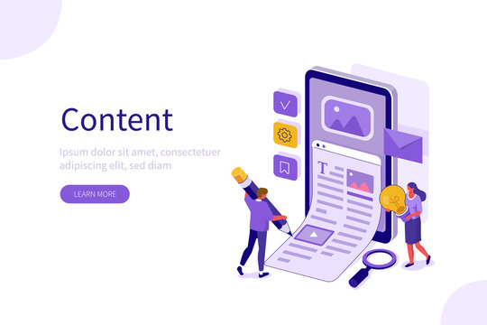 People Characters Creating and Marketing Content. Man and Woman Writing Author Blog for Social Media. Blogging, Copywriting and Content Management Concept. Flat Isometric Vector Illustration.