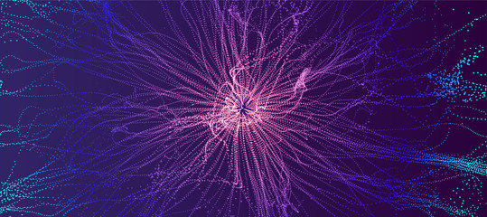 Point explode. Array with dynamic emitted particles. 3d technology style. Abstract background. Vector illustration Fotoväggar
