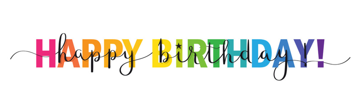Rainbow-colored vector brush calligraphy HAPPY BIRTHDAY! banner with swashes