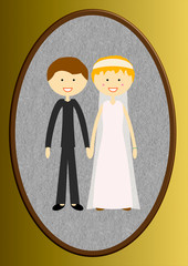 La photo des jeunes mariés dans un cadre ovale