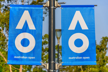 Melbourne, Victoria, Australia, January, 18th, 2020: The signs for the 'Australian Open' Tennis Tournament in the city of Melbourne