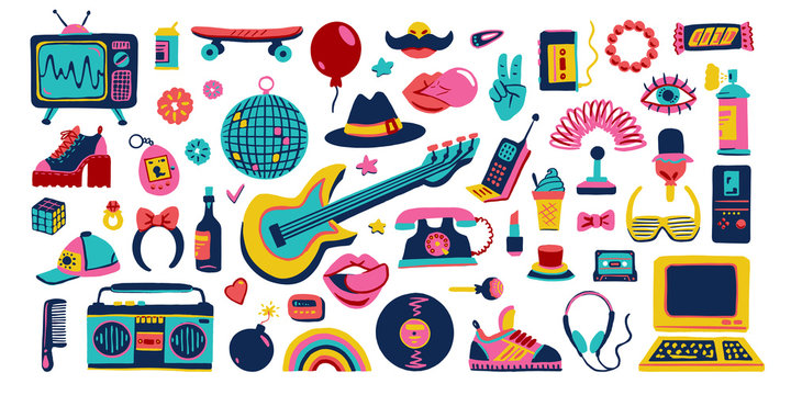Collection retro icons elements in trendy 80s-90s goods hand-drawn cartoon style. Vector colorful set doodle illustration isolated on white background