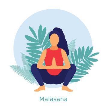 Woman in malasana pose, female yoga pose, garland pose