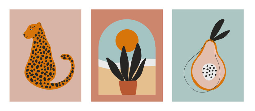 Digital art illustrations with cheetah, leopard, planr and sun, nature and fruit. Minimalist line art with simple colors. Modern posters for wall art, prints, cards.