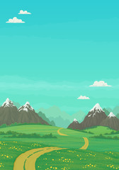 Summer landscape with rural dirt road running through green meadows with wildflowers and trees, snowy mountains with bright blue sky and clouds in the background. Cartoon vector illustration, banner.